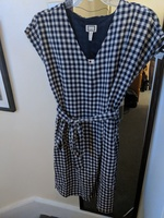 Navy and white gingham dress with tie