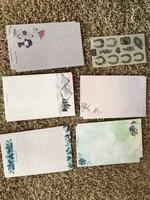 Misc stationary + sheet of floral horseshoe stickers