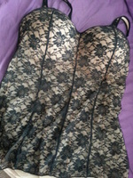 Rhonda Shear Lace All Over molded cup cami in black over nude