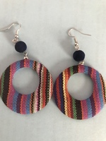Fabric covered modular stripe dangle hoop earrings