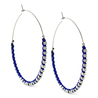 BCBGeneration Blue and Silver Beaded Hoop Earrings