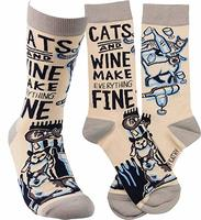 Cats and Wine Make Everything Fine women's socks