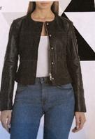 Badgeley Mischka Collarless Lamb Leather Jacket