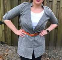 Urbane Box Grey Blazer Cardigan, Size M