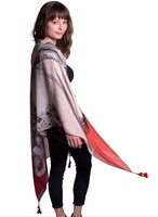 Kevia Lightweight Scarf Grey with Red Accent