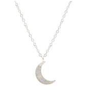 CRESCENT MOON CHARM NECKLACE WITH OPAL (SILVER)