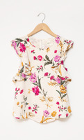Flutter Sleeve Floral Blouse Size Small