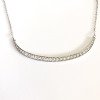 Baublebar Curved Bar Pave Necklace in Silver