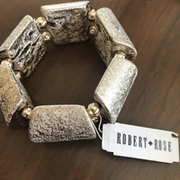 Robert Rose Gold Textured Wood Stretch Bracelet