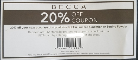 Becca 20% off coupon