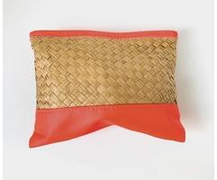 Neon Coral & Basket Weave Bag