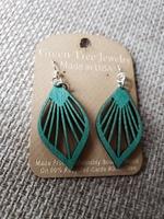 Green tree earrings