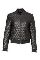 Nicole Miller Quilted Bomber Jacket - Black, small