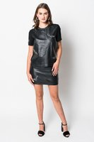 Nicole Miller Real Leather Embellished Top