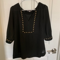 Stitch Fix Black Studded Blouse, Medium