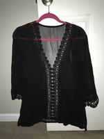 Black lace swim coverup