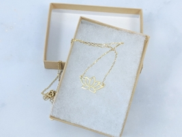 Gold plated sterling silver lotus pendant necklace