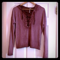 Mono B Lace Up Hoodie Purple