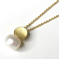 Freshwater Pearl Disk Necklace