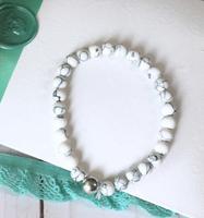 White marble beaded bracelet - Mint Mongoose