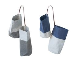 Creative Co-op Waterside Canvas Hanging Double Bags with Leather Handle