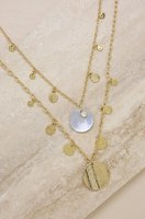 Ettika Pacific Princess 18kt Gold Plated Layered Shell Disc Necklace Set
