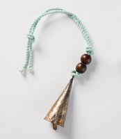 Celadon Cone Shaped Bell with Wooden Beads