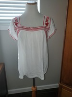 Ellison Red & White embroidered top