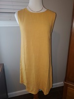 Crescent Mustard Shift Dress w/ back button detail