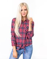 Pink Plaid Flannel tie waist shirt