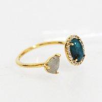 Tai Jewelry Adjustable Ring with Labradorite and Dark Blue Opaque Stone