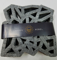 Happy Rebel Geometric Felt Coasters - Gray (Set of 4)