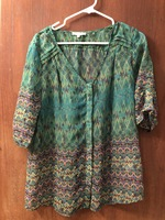 Skies Are Blue Stitch Fix Women's Size L Emerald Green Blouse Button Front