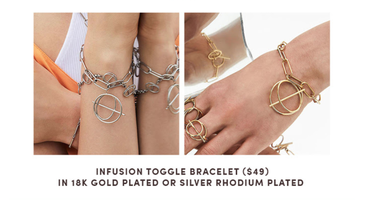 Wanderlust & Co. Infusion Toggle bracelet in silver ton