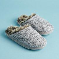 PJ Salvage Faux Fur Trim Cable Slippers M/L