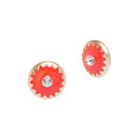 Catherine Stein Star Burst Circle Stud Earrings