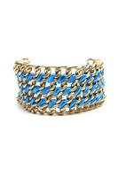 ZAD Wide Gold Chain Ribbon Wrap Bracelet Blue