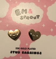 Em & Sprout 22K Gold Plated Stud Earrings Heart Faces