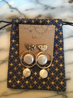 Kevia 18k gold plated and pearl drop earrings