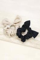 Ettika Bella Satin Hair Scrunchie Set - Black and Beige