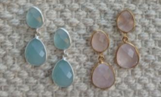 Amer Post Earrings - Aqua Chalcedony