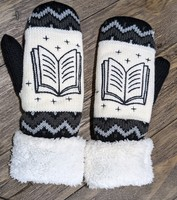 Book embroidered mittens