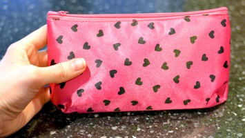 Ipsy Makeup Bag February 2012 Pink with hearts