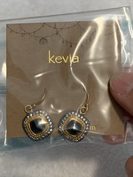 Kevia Square Earrings (Black and Gold)