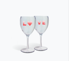 THE DROP IT - SET OF 2 WINE GLASSES- CLEAR LOVE DUO