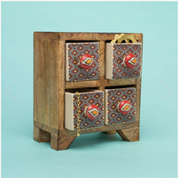 Handpainted Ceramic and Wood Jewelry Chest