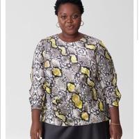 Universal Standard Lucina gathered satin snakeskin blouse