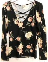 Laced Floral Top - Black