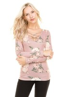 Laced Floral Top - Pink