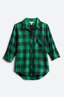 Market & Spruce Jillianne Button Down Top in green & black